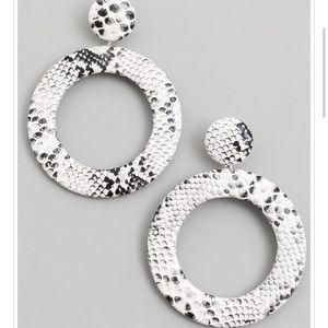 White And Black Snake Earrings